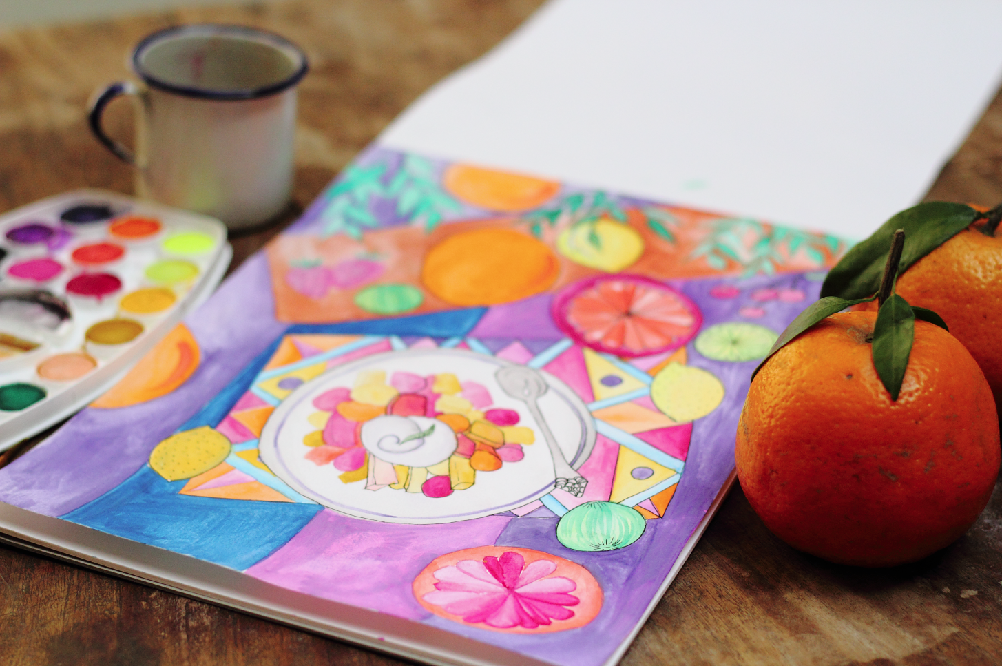 fruit salad with oranges drawing