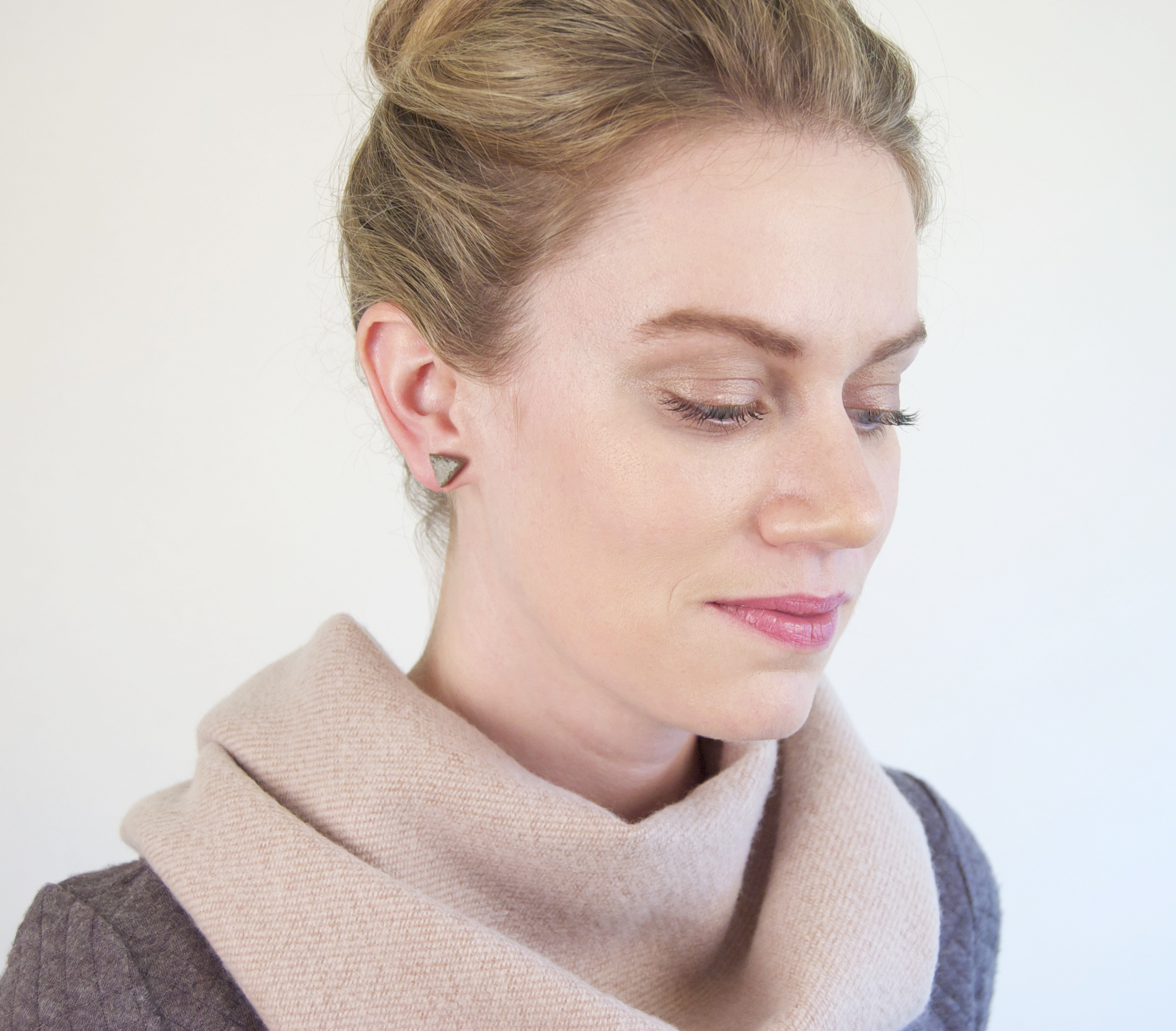 Modern Style from Maple + Mauve via Opinion9 ConcreteTriangleEarringsBeckyBaseGreywithTanScarf