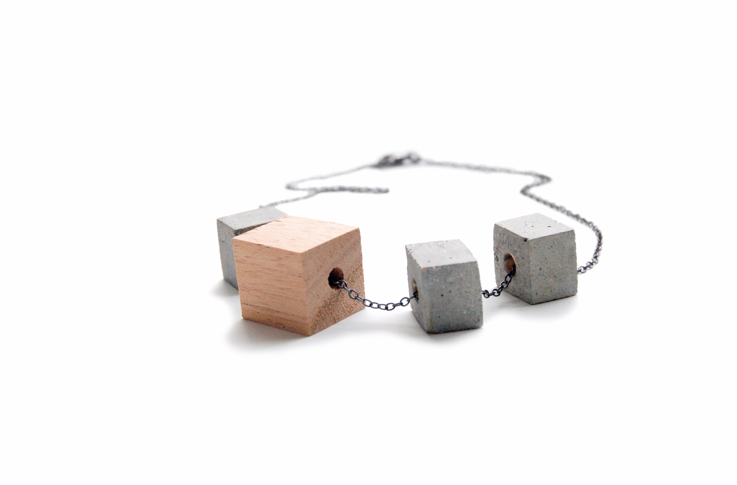 Modern Style from Maple + Mauve via Opinion9 WoodandConcreteNecklace1