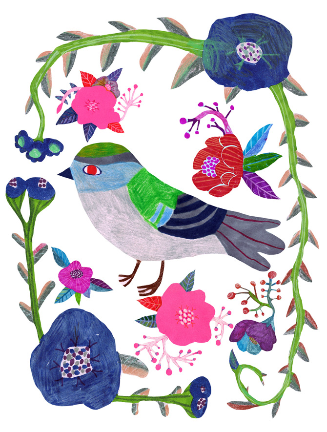 monika_forsberg_blue_flowers_and_one_bird_670